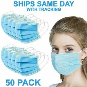 50 Face Masks Lot Mouth Cover Disposable 4-ply